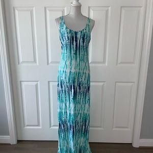 JUST IN Tarte Fun aqua/blue/wht Slvls Long Dress M